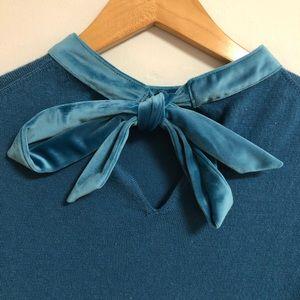 Boden Bow Back Jersey Dress with Velvet Trim